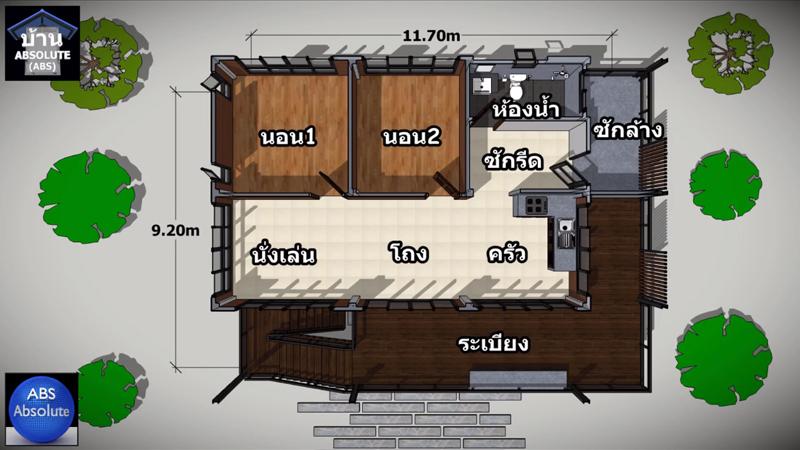 ค่าก่อสร้าง ตำแหน่งห้อง บ้านไม้ พื้นที่ใช้สอย ยกพื้นสูง ห้องนอน ห้องน้ำ แบบบ้าน