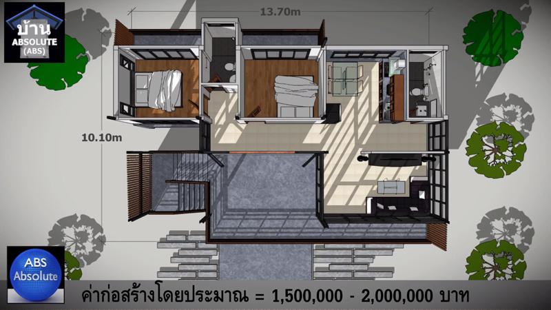 ค่าก่อสร้าง พื้นที่ใช้สอย ห้องนอน ห้องน้ำ แบบบ้าน