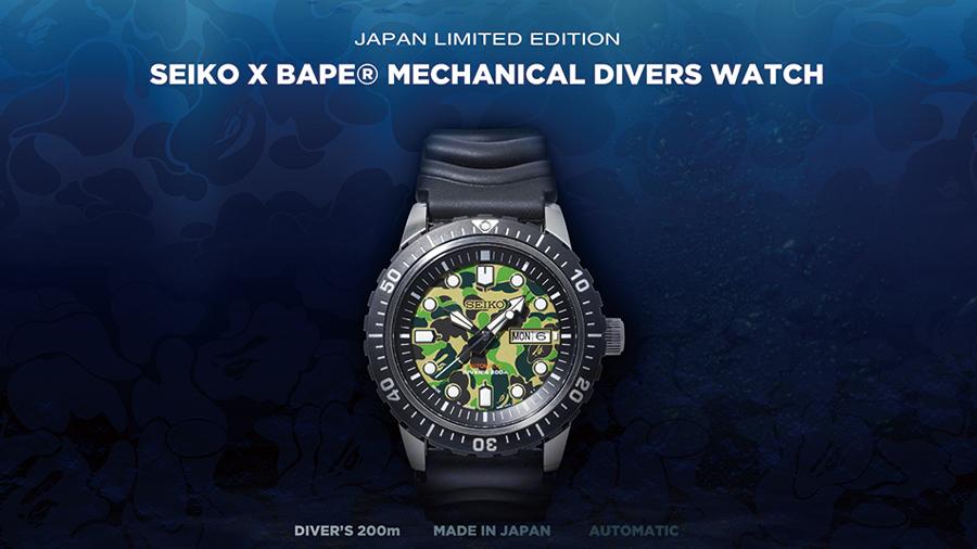 A BATHING APE ABC CAMO Bape Diver's Watch fashion SEIKO watch นาฬิกา นาฬิกาดำน้ำ แฟชั่น