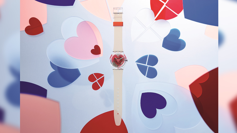 All pink Coeur de manege fashion Herzlich Love is in the Air swatch Triple love นาฬิกา วาเลนไทน์ สวอทช์ แฟชั่น
