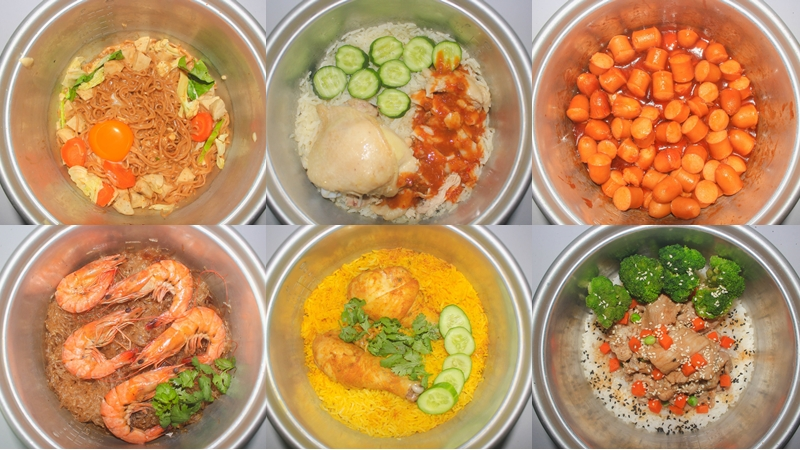 ข้าวมันไก่ ข้าวหน้าปลาซาบะ ข้าวหน้าหมูเทอริยากิ ทำอาหารในหม้อหุงข้าว ลาบหมู หม้อหุงข้าวแค่ใบเดียว เมนูประหยัดเวลา แกงพะแนง ไข่ตุ๋น