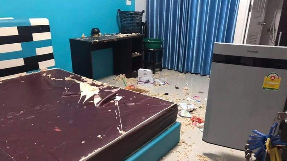 ข่าวภูมิภาค ค้างค่าเช่า ทำลายข้าวของ พังห้องเช่า หอพัก เปิดแอร์ทิ้งไว้
