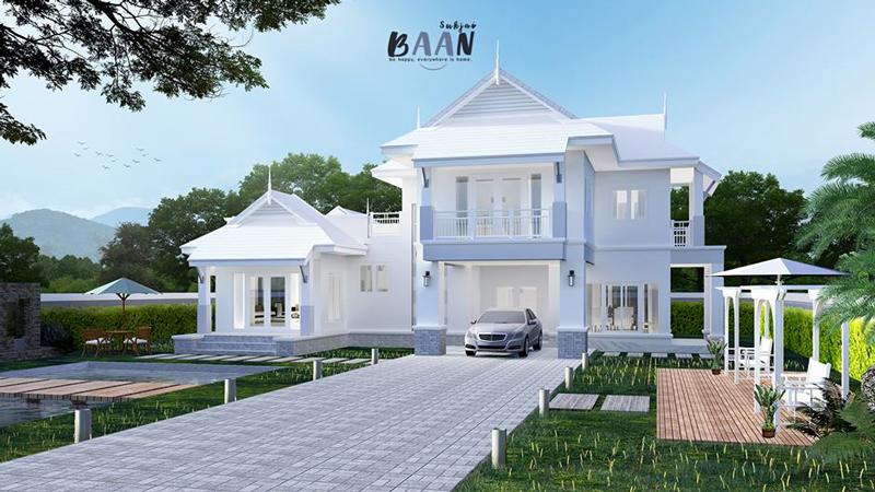 พื้นที่ใช้สอย สีขาว แบบบ้าน แบบบ้านสองชั้น