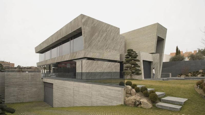 คอนกรีต บ้านกล่อง ประติมากรรม สวนญี่ปุ่น สไตล์คอนเทมโพรารี่ แบบบ้านเดี่ยว