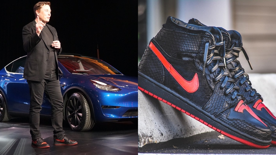 Air Jordan Air Jordan 1 Custom DM Custom Sneakers Elon Musk Horween Leather Model Y Sneaker Tesla รองเท้า สนีกเกอร์ แฟชั่น