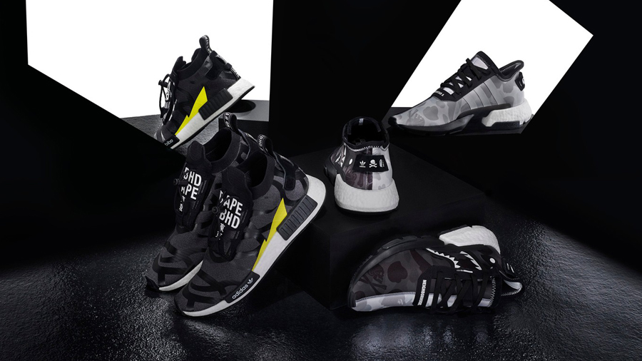 A BATHING APE adidas adidas Originals Bape NBHD NEIGHBORHOOD NMD STLT POD S-3.1 Shark Face Sneaker Three Stripes รองเท้า สนีกเกอร์ อาดิดาส