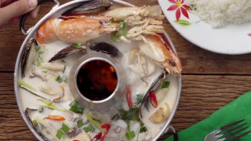 กินข้าวกัน ต้มข่า ต้มข่าทะเล ต้มข่าทะเลหม้อไฟ ต้มยำ สูตรอาหาร หม้อไฟ