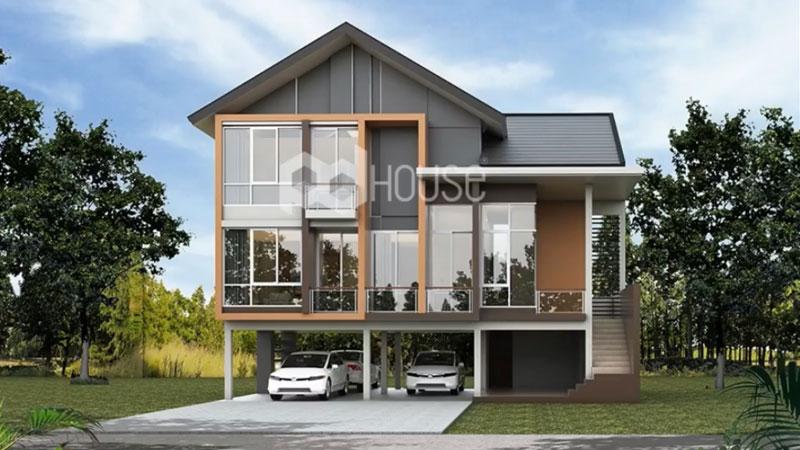 บ้านแนวโมเดิร์น แบบบ้าน แบบบ้าน 3 ห้องนอน แบบบ้านสไตล์โมเดิร์น