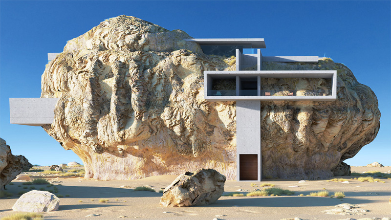 คอนกรีต สถาปัตยกรรม สร้างบ้าน หิน โมเดิร์น