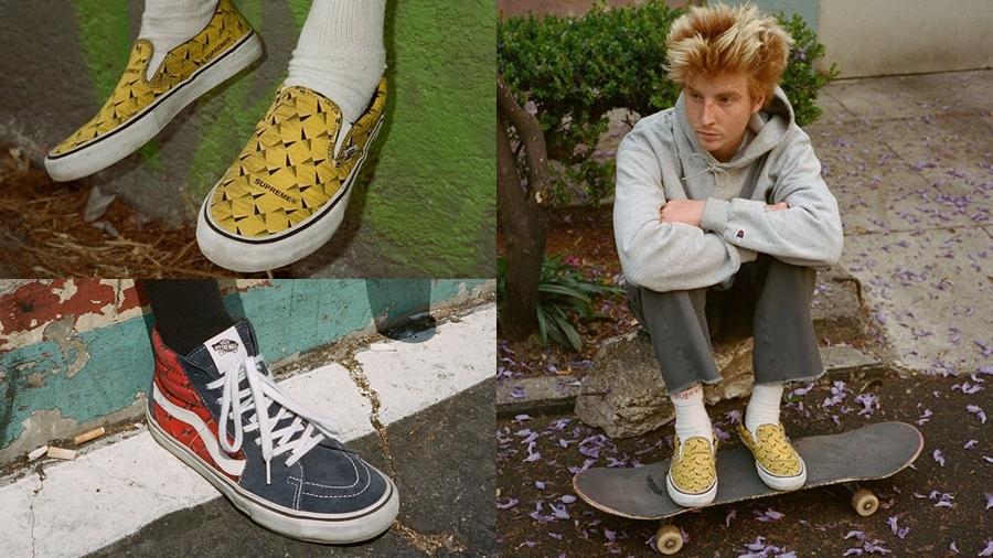 Diamond Plate fashsion Sk8 Hi Slip on Sneaker streetwear Supreme vans สตรีทแวร์ สนีกเกอร์ แฟชั่น