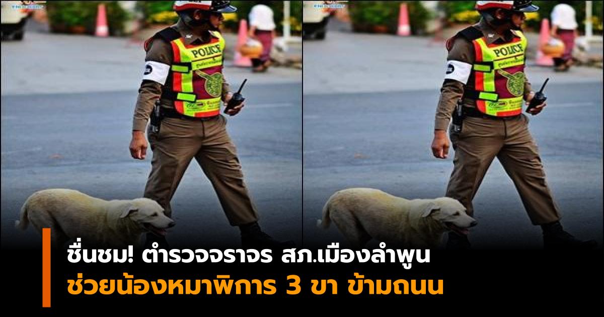ตำรวจพาหมาข้ามถนน