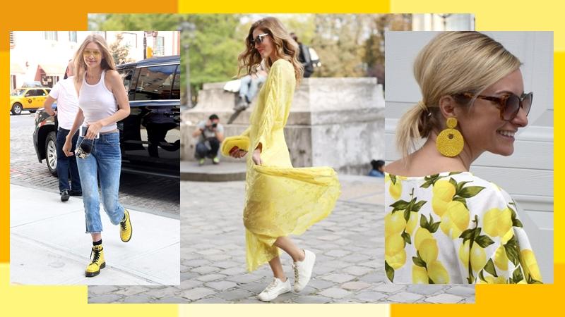 มิกซ์แอนด์แมทช์ รองเท้าผ้าใบ รองเท้าส้นสูง สีเหลือง