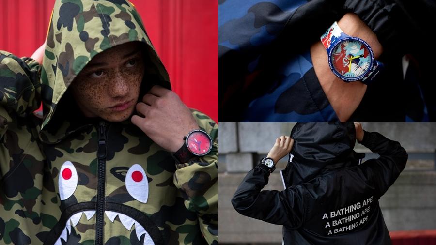 A BATHING APE Ape Head Bape BIG BOLD fashion streetwear swatch watch นาฬิกา สตรีทแวร์ สวอท์ช แฟชั่น