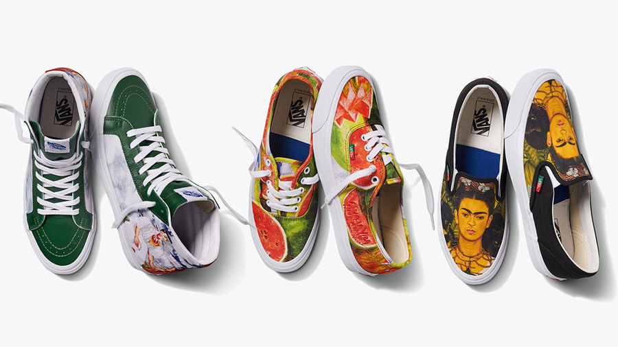 Artist Authentic Frida Kahlo Sk8 Hi Slip on Sneaker vans Vans Vault รองเท้า ศิลปะ สนีกเกอร์