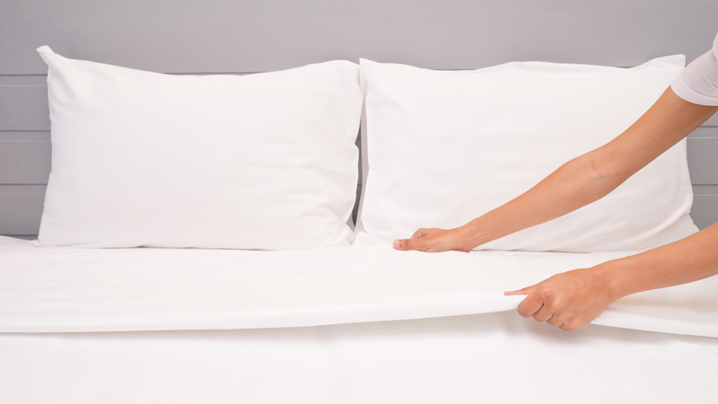 ที่นอน ผ้าปูที่นอน ผ้าปูที่นอนสีขาว