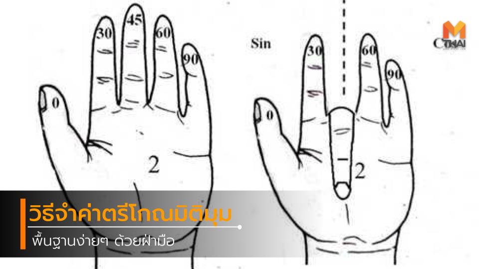 คณิตศาสตร์ ตรีโกณมิติ นิ้วมือ วิชาคณิต วิชาเลข วิธีจำค่าตรีโกณมิติ แคลคูลัส