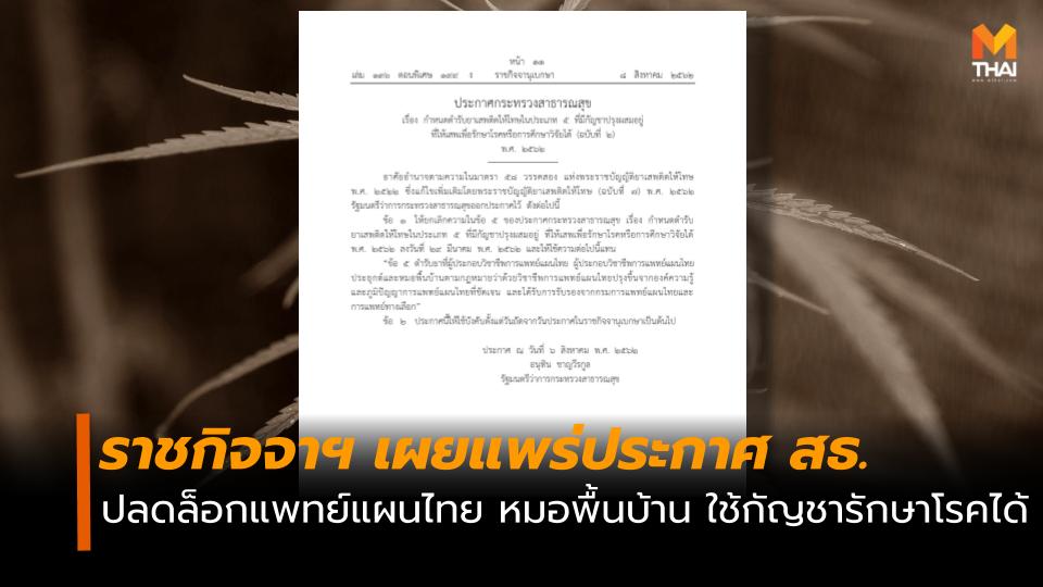 กัญชา หมอพื้นบ้าน แพทย์แผนไทย ใช้กัญชารักษาโรค