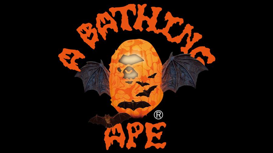 A BATHING APE Ape Head Baby Milo Bape fashion Halloween Jack-o'-lantern streetwear สตรีทแวร์ ฮาโลวีน เครื่องแต่งกาย แฟชั่น