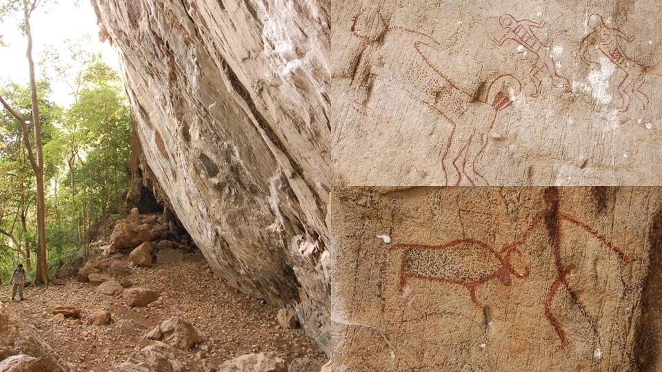 ภาพเขียนสีโบราณ เขตห้ามล่าสัตว์ป่าถ้ำประทุน เขาปลาร้า