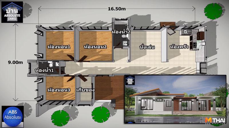 บ้านแนวโมเดิร์น วัยเกษียณ แบบบ้าน แบบบ้านชั้นเดียวแนวโมเดิร์น แบบบ้านแนวโมเดิร์น