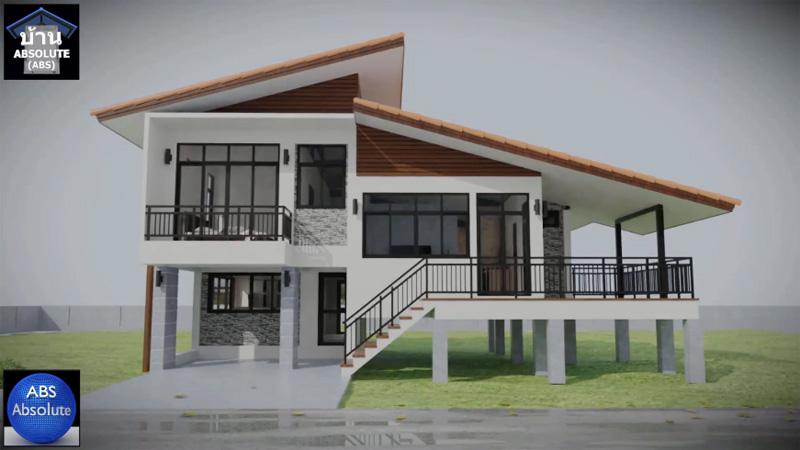 ผู้รับเหมา วัสดุก่อสร้าง แบบบ้าน แบบบ้านชั้นครึ่ง แบบบ้านแนวโมเดิร์น