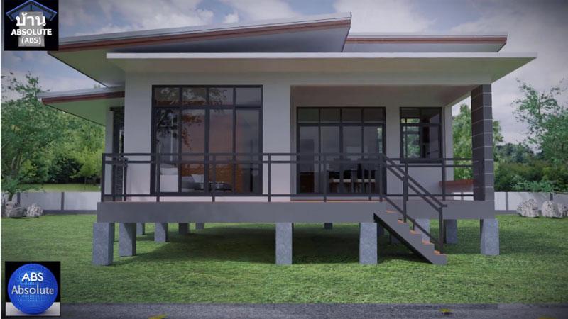 บ้านแนวโมเดิร์น ยกพื้นสูง แบบบ้าน แบบบ้านชั้นเดียว แบบบ้านชั้นเดียวแนวโมเดิร์น