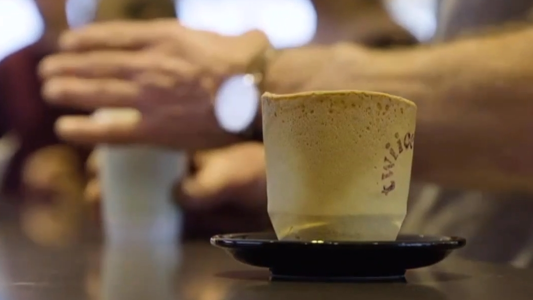 Air New Zealand แก้วกาแฟกินได้
