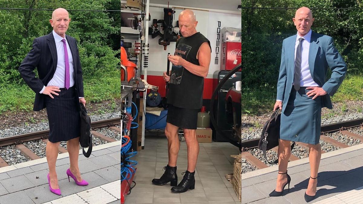 ชายแต่งหญิง ผู้ชายใส่กระโปรง ผู้ชายใส่รองเท้าส้นสูง เสื้อผ้าไม่มีเพศ