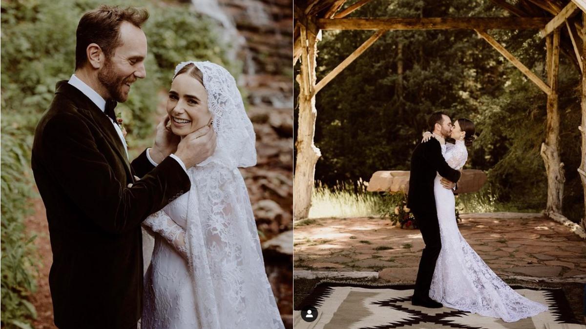Lily Collin ชุดแต่งงาน ลิลี คอลลินส์ เทพนิยาย แต่งงาน